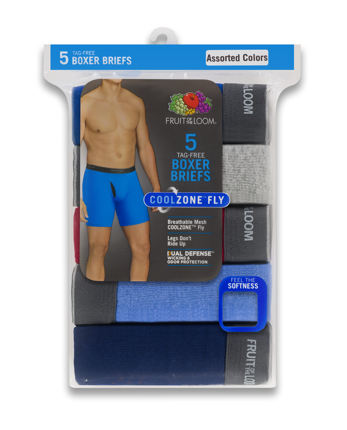 Men's COOLZONE Assorted Boxer Briefs, 5 Pack ASSORTED