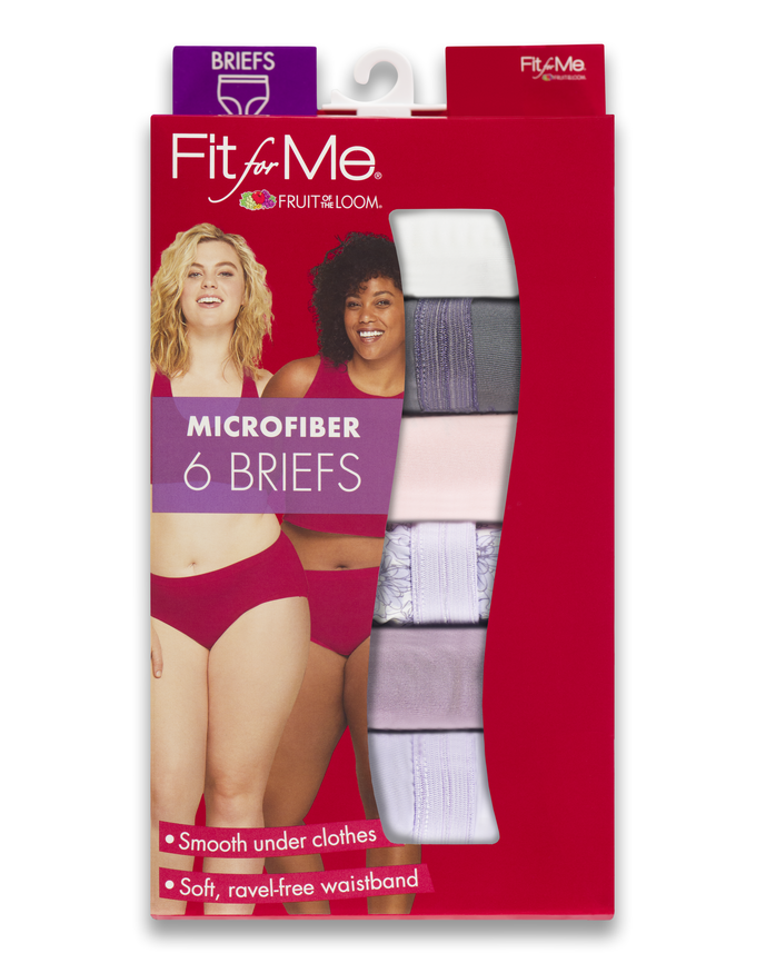 Women's  Fit for Me Microfiber Briefs, 6 Pack ASSORTED