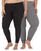 Women's Plus Size Thermal Bottom, 2 Pack Black/Smoke Heather