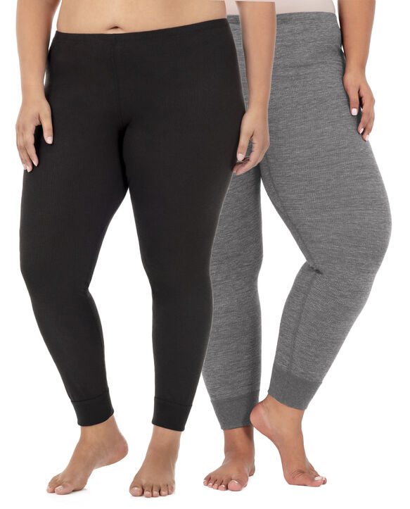 Women's Plus Size Thermal Bottom, 2 Pack Black/Smoke Heather