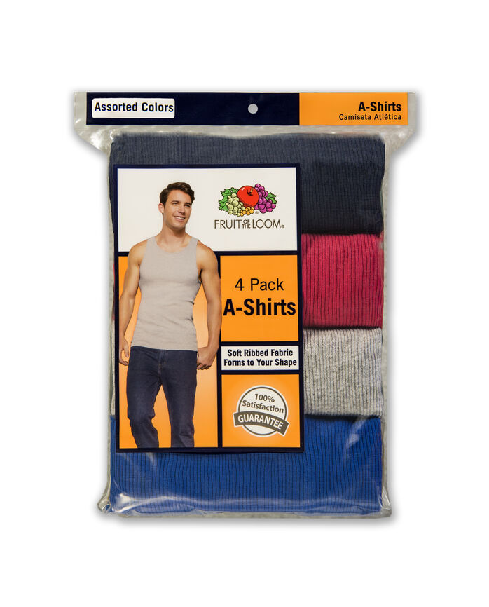 Men's Classic Assorted A-Shirts, 4 Pack Assorted