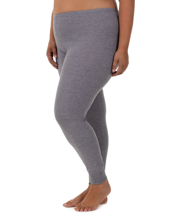 Women's Fit for Me by Plus Waffle Bottom, 1 Pack MEDIUM GREY HEATHER