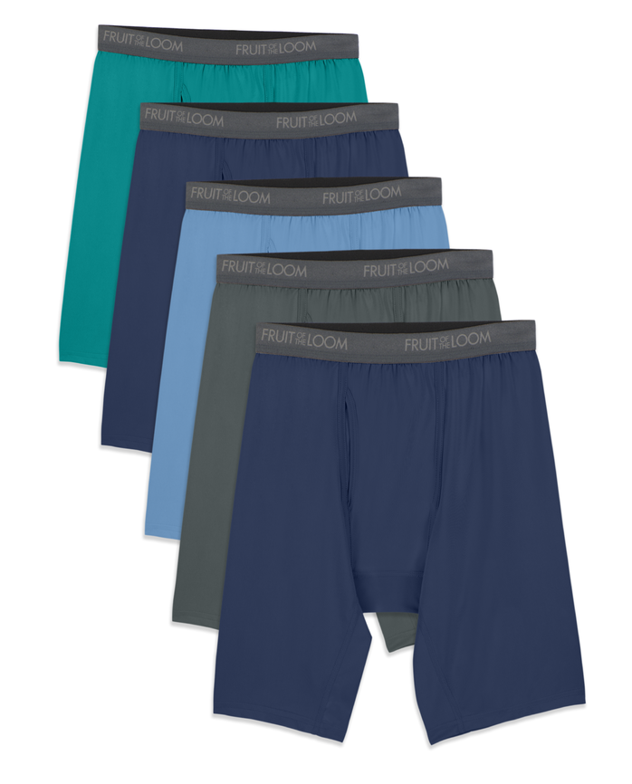 Men's Micro-Stretch Assorted Long Leg Boxer Briefs, 5 Pack