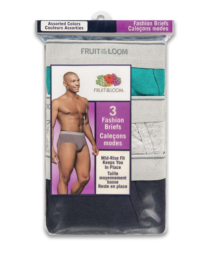 Men's Assorted Mid Rise Brief, 3 Pack