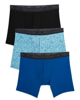 Men's Breathable Micro-Mesh Print and Solid Boxer Briefs, 3 Pack