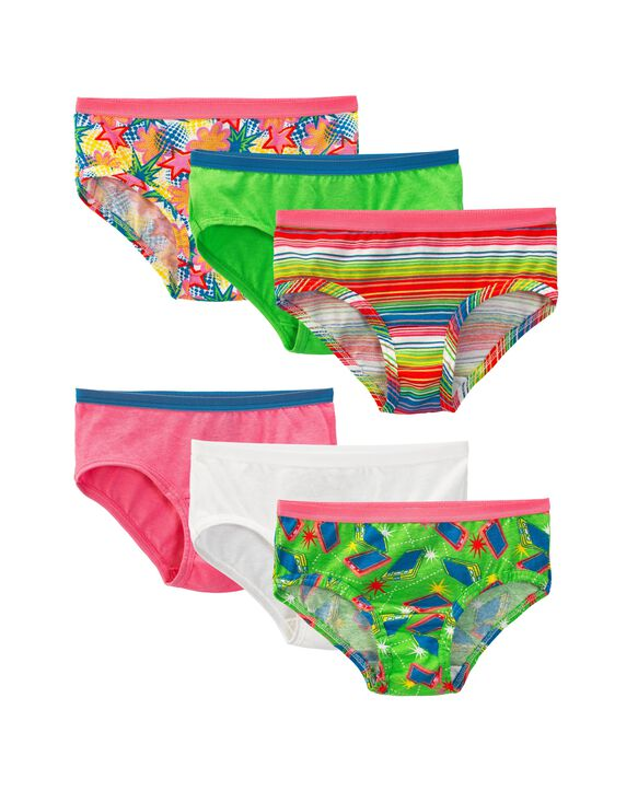 Girls' Assorted Cotton Low Rise Brief Panty, 6 Pack Assorted