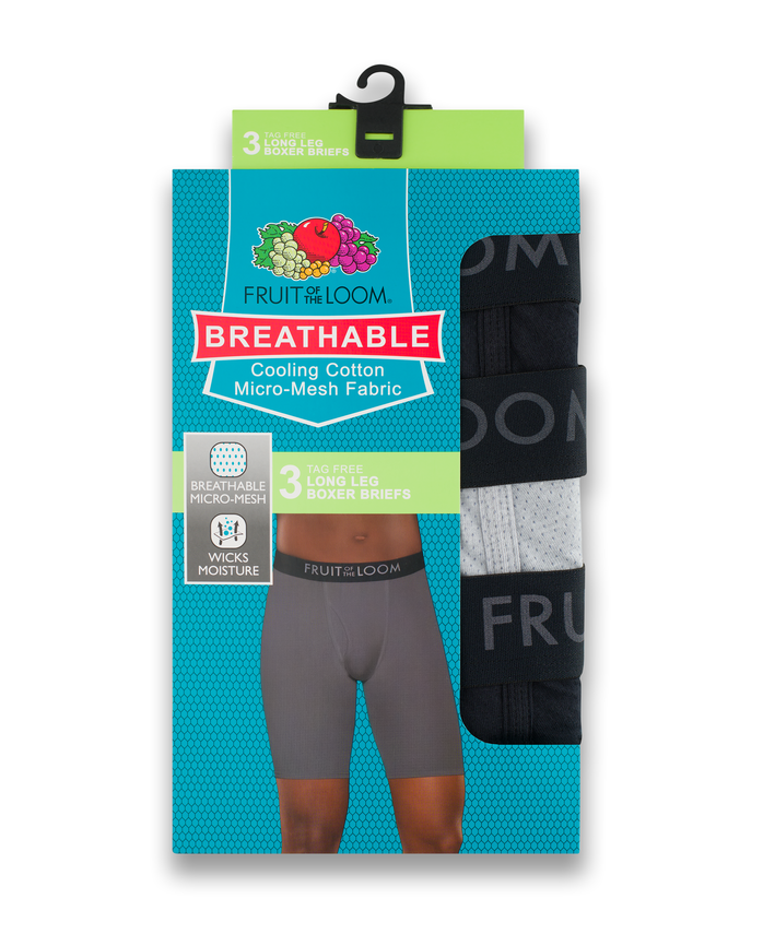 Men's Breathable Long Leg Boxer Brief, 3 Pack Assorted