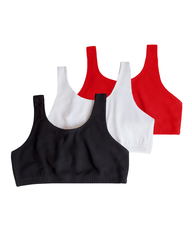 Women's Tank Style Sports Bra, 3 Pack RED HOT/WHITE/BLACK