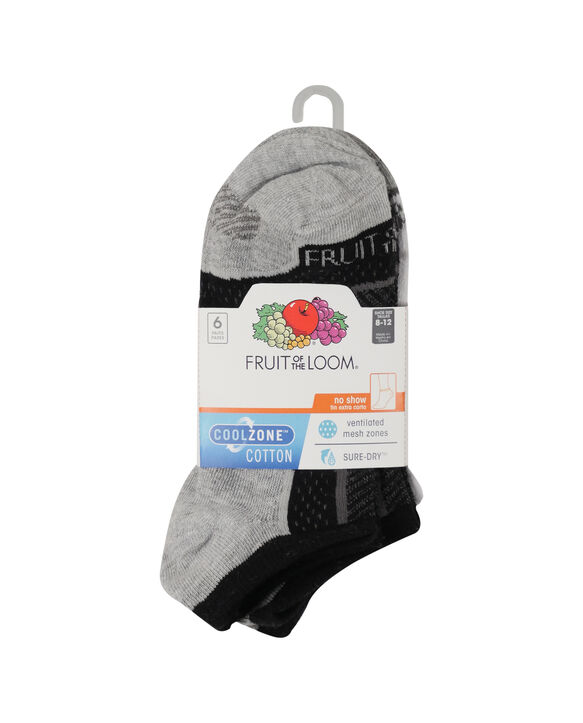 Women's CoolZone Cotton Lightweight No Show Socks, 6 Pack BLACK/ GREY HEEL AND TOE, WHITE/ GREY HEEL AND TOE