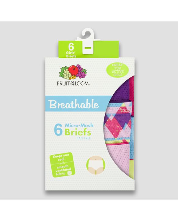 Girls' Assorted Breathable Micro-Mesh Brief Panty, 6 Pack Assorted