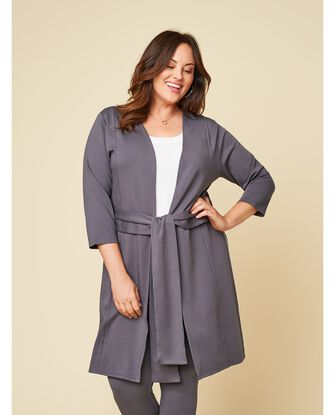 Women's Seek No Further Plus Size Ponte Open Front Long Cardigan