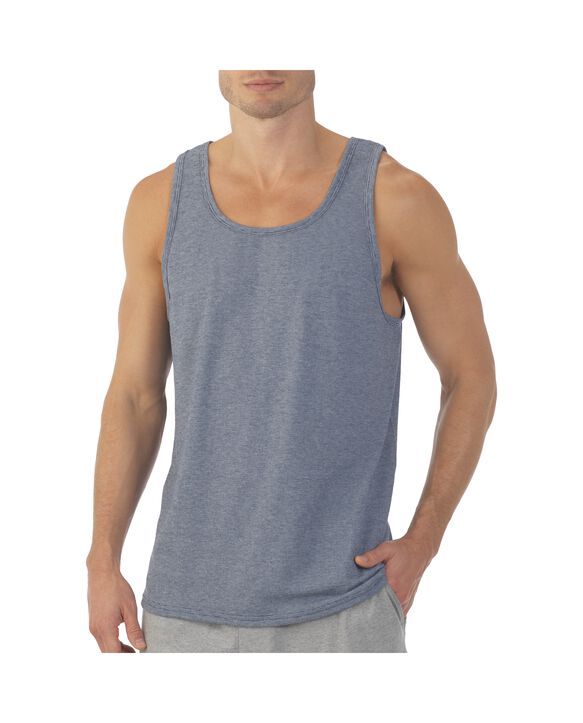 Men's EverSoft® Micro Stripe Tank Top, 1 Pack Smoke Blue Stripe