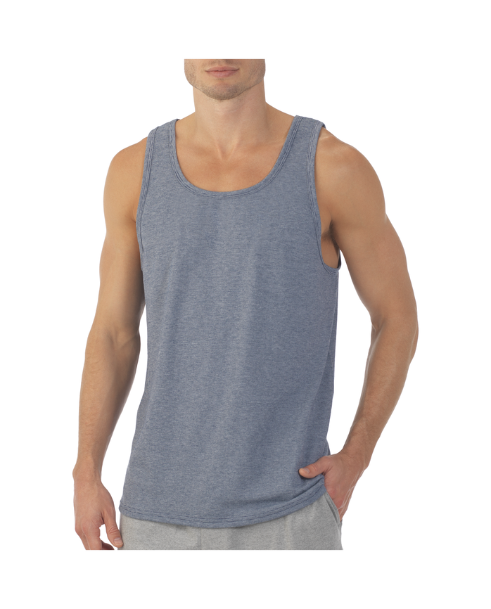 Men's EverSoft Micro Stripe Tank Available in, 1 Pack, Extended Sizes Smoke Blue Stripe