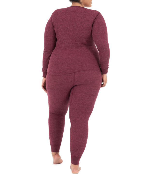 Women's Plus Size Thermal Crew & V-Neck Top, 2 Pack MERLOT INJECTION HEATHER/MERLOT INJECTION HEATHER