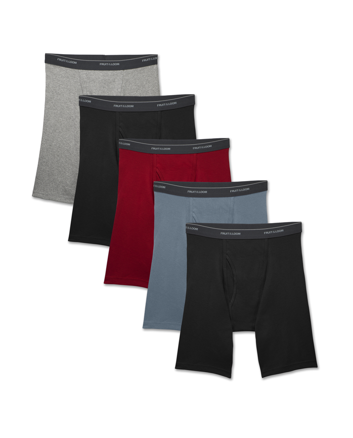Men's Dual Defense® Assorted Long Leg Boxer Briefs, 5 Pack