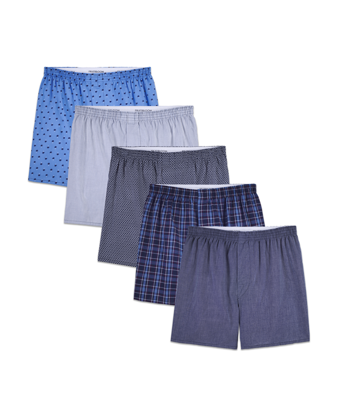 Men's Fashion Print and Stripe Boxers, 5 Pack