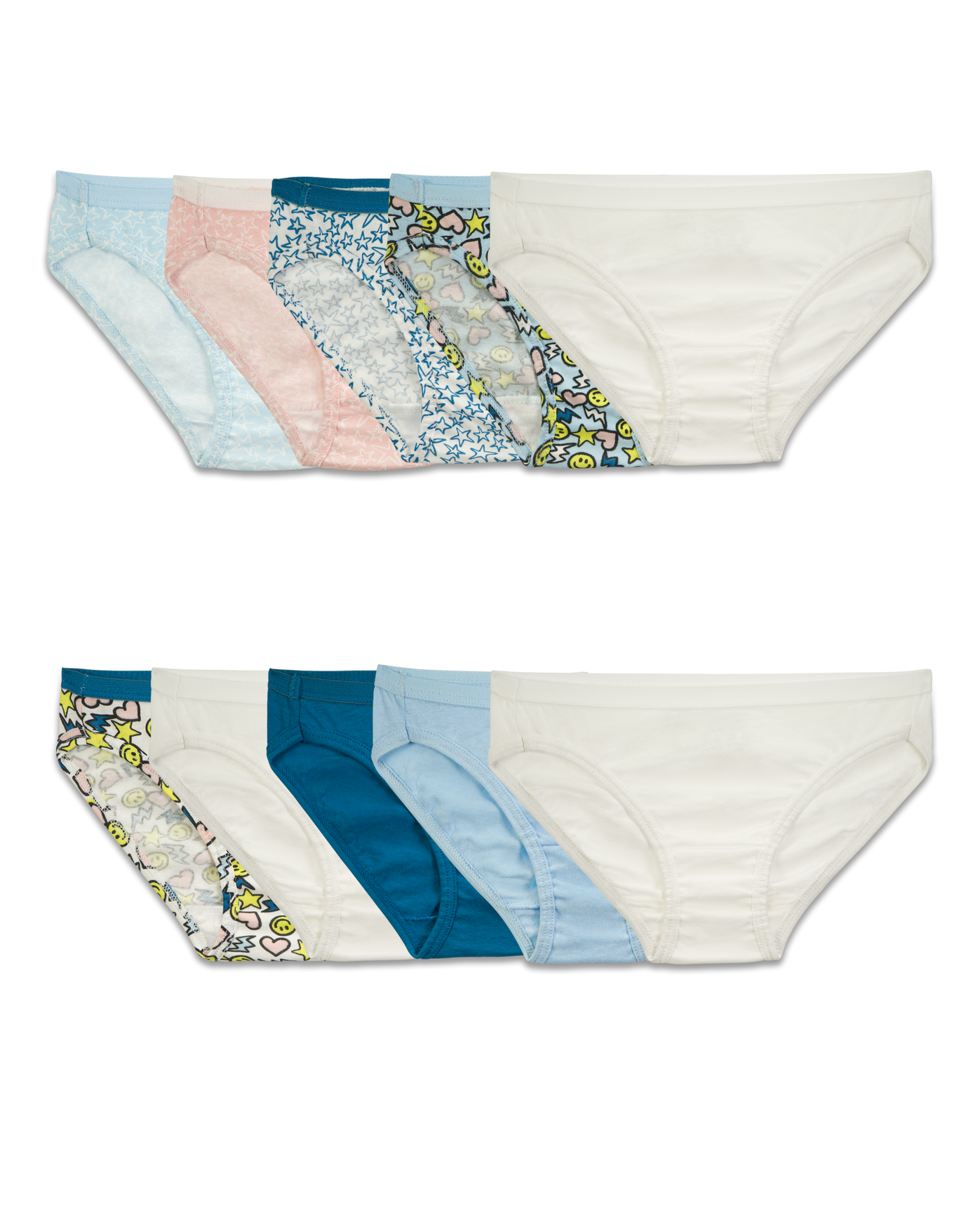 6db2b52f062b Girls' 9 Pack Assorted Color Bikini Assorted Print and Color