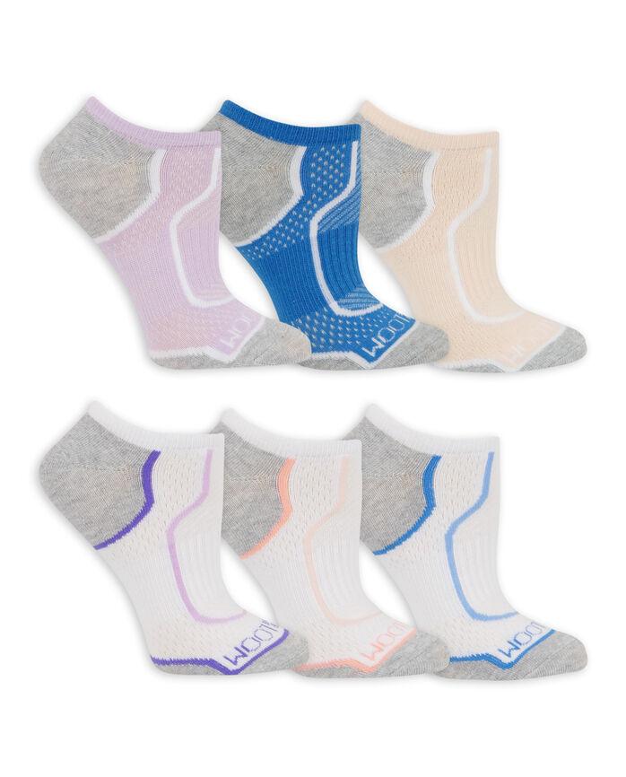 Women's CoolZone Cotton Lightweight No Show Socks, 6 Pack LAVENDAR, BLUE, PEACH, WHITE/PURPLE, WHITE/SALMON, WHITE/BLUE