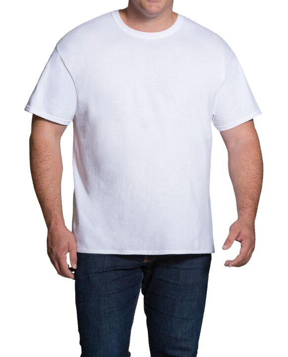 Men's Short Sleeve White Crew T-Shirts Extended Sizes, 3 Pack White