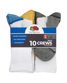 Boys' Cushioned Crew Socks, 10 Pack BRIGHT WHITE/DIRECTOR BLUE, BRIGHT WHITE/LEMONCH,BRIGHT WHITE/VIBRANT ORANGE,BRIGHT WHITE/MED GREY H, BRIGHT WHITE/HIGH RISK RED,BRIGHT WHITE/MED GREY