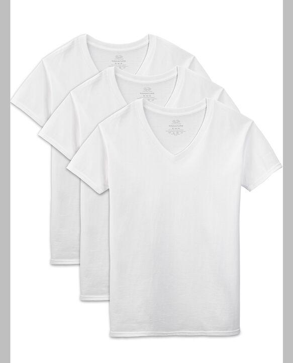 Men's Short Sleeve White V-Neck T-Shirts, 3 Pack White