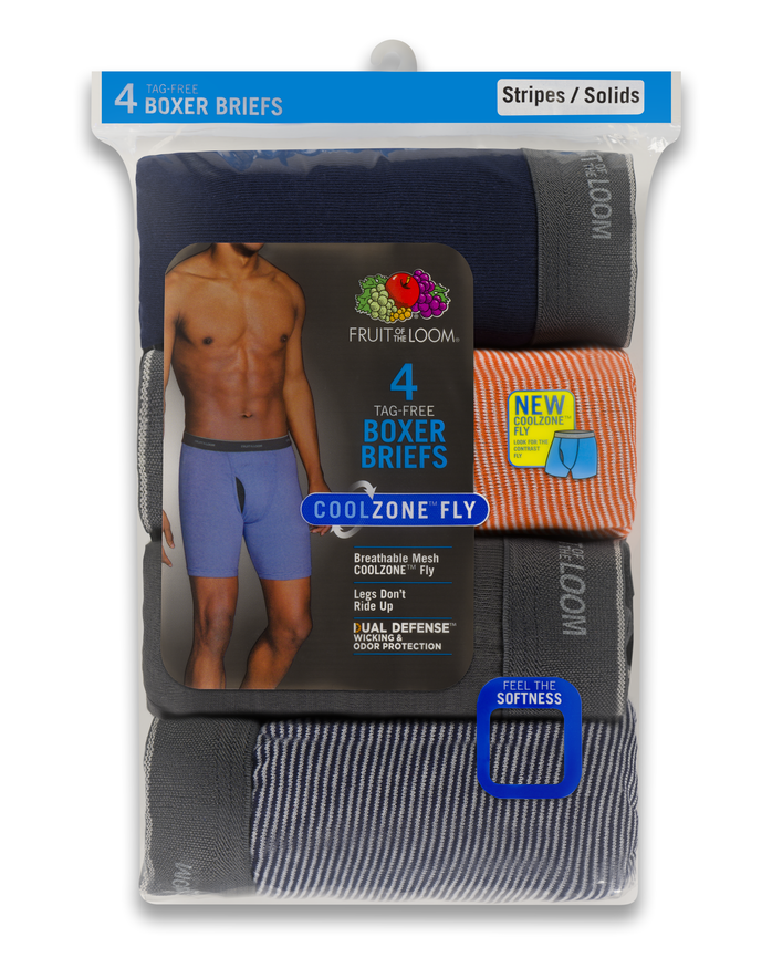 Men's CoolZone Fly Stripe and Solid Boxer Briefs, Extended Sizes, 4 Pack ASSORTED