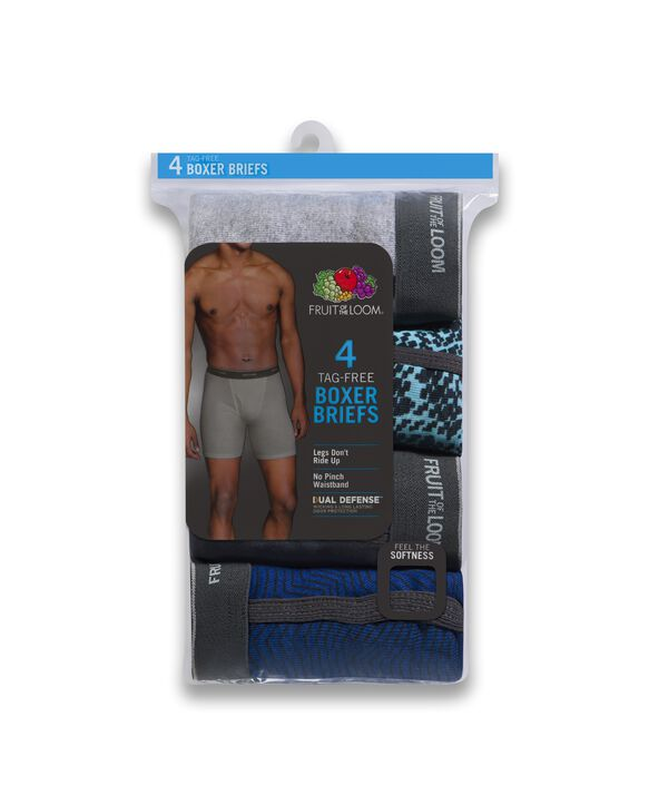Men's CoolZone Fly Ringer Boxer Briefs, Extended Sizes, 4 Pack Assorted Color