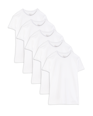 Men's Short Sleeve White Crew T-Shirts, 5 Pack, 2XL White