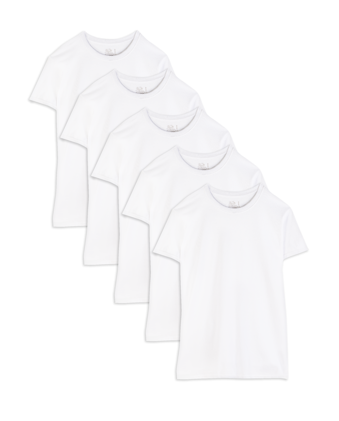 Men's Short Sleeve White Crew T-Shirts, 5 Pack, 2XL