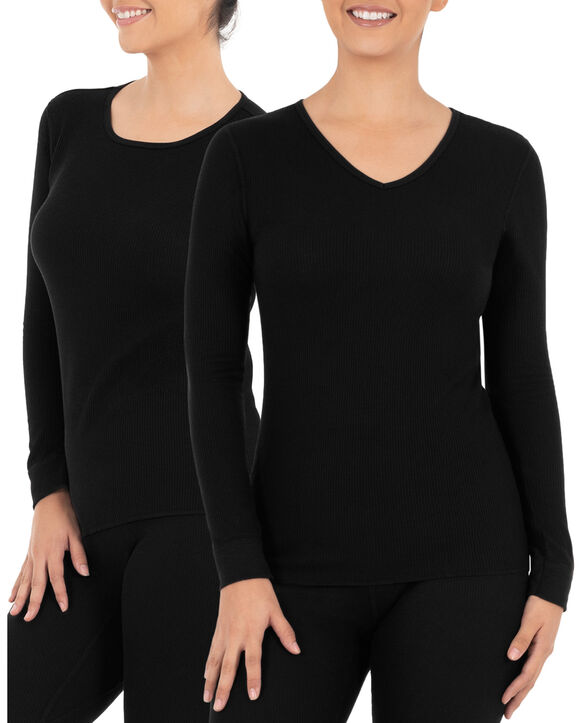 Women's Thermal Crew & V-Neck Top, 2 Pack Black