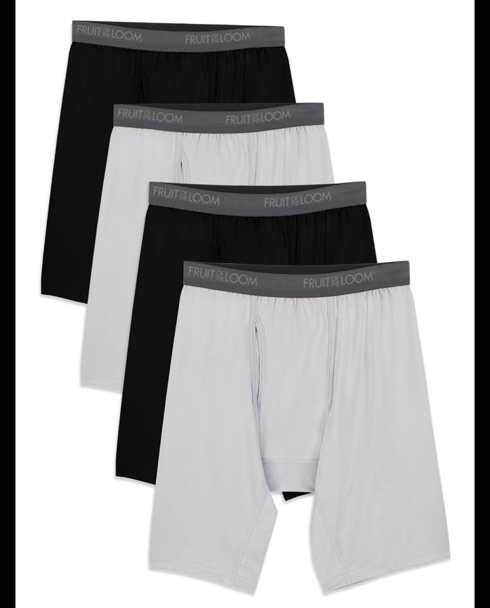Men's Micro-Stretch Black/Gray Long Leg Boxer Briefs, 4 Pack, Size 2XL
