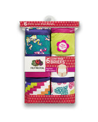 Girls' 6 Pack Assorted Cotton Low Rise Brief Assorted