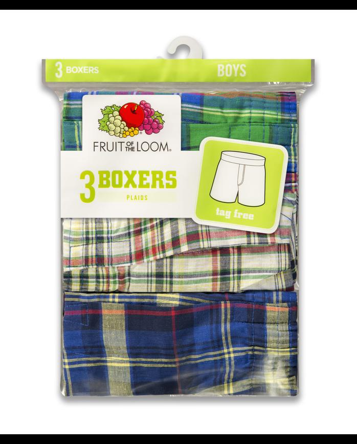 Boys' Tartan Boxer, 3 Pack