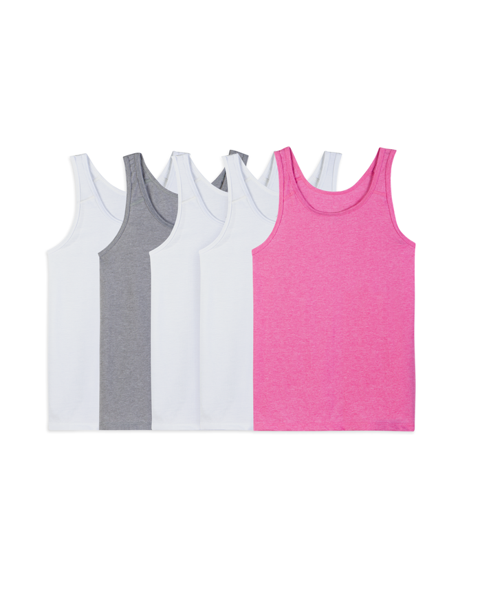Fruit of the Loom Girls' 5 Pack Assorted Tank