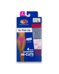 Women's No Ride Up Hi-Cut, 4 Pack Assorted