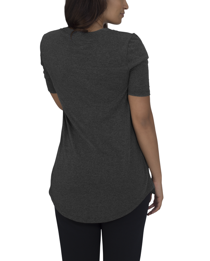Women's Essentials Elbow Length V-Neck T-Shirt, 1 Pack Black Heather
