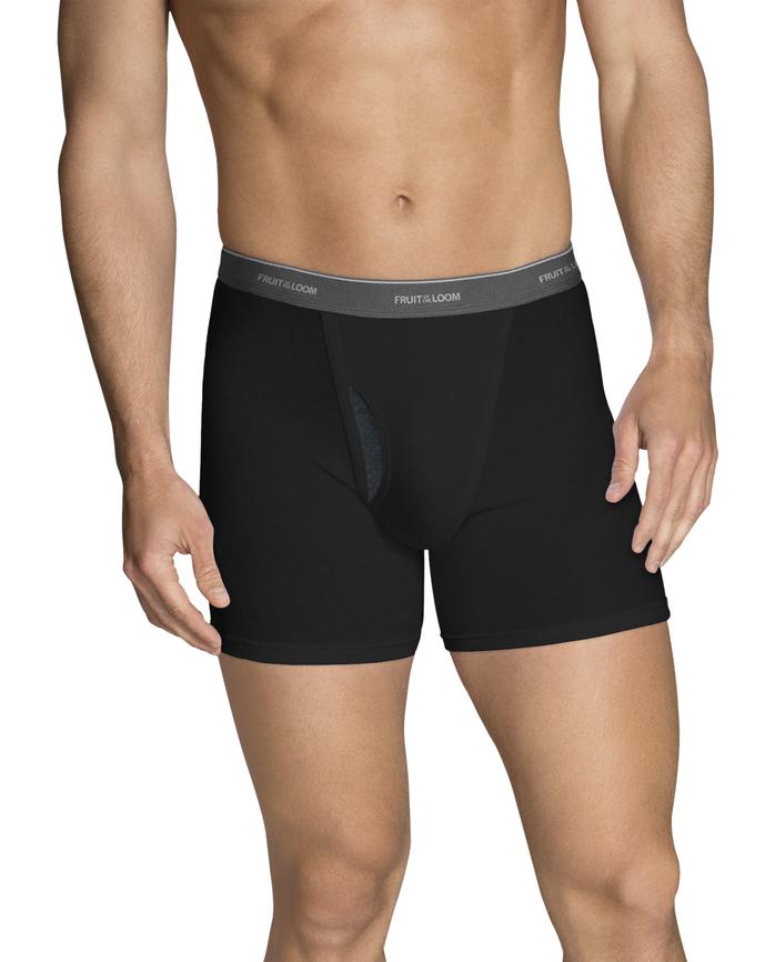 Men's COOLZONE Black/Gray Short Leg Boxer Briefs, 4 Pack, Extended Sizes ASSORTED