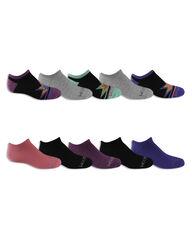 Girls' Everyday Soft No Show Socks 10 Pair BLACK/BLUE, GREY, BLACK/GREEN, BLACK/PURPLE, PINK,