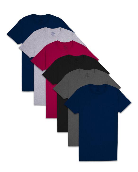 Men's Assorted Fashion Pocket T-Shirt, 6 Pack ASSORTED