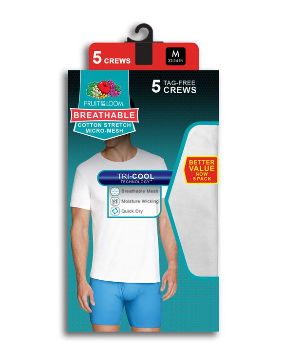Men's Breathable Cooling Cotton Mesh White Crew T-Shirts, 5 Pack WHITE