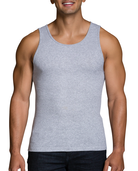Men's Black/Gray A-Shirts, 4 Pack, Extended Sizes Black/Grey