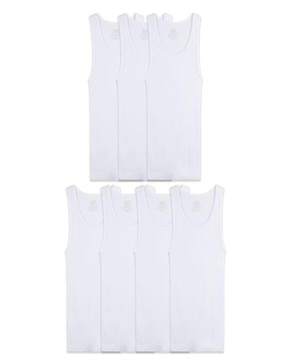 Boys' White Tank Top A-Shirts, 7 Pack WHITE