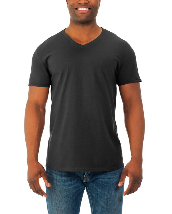 Men's Soft Short Sleeve V-Neck T-Shirt, 2 Pack, Extended Sizes Black