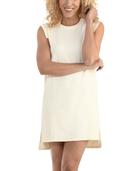 Women's Seek No Further Pleated Ponte Shift Dress Ivory