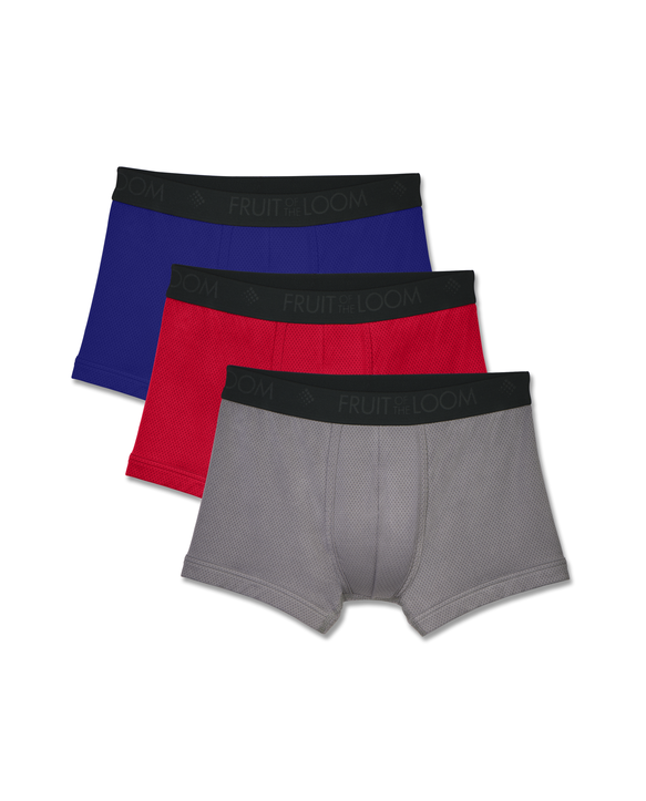 Men's Breathable Lightweight Micro-Mesh Short Leg Boxer Brief, 3 Pack Assorted