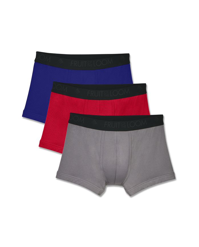 Men's Breathable Short Leg Boxer Briefs , 3 Pack, Size 2XL
