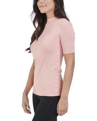 Women's Seek No Further Mock Neck Ribbed T-Shirt
