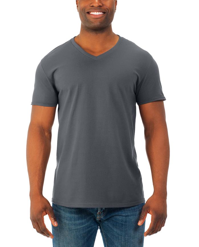 Men's Soft Short Sleeve V-Neck T-Shirt, 2 Pack, Extended Sizes Charcoal