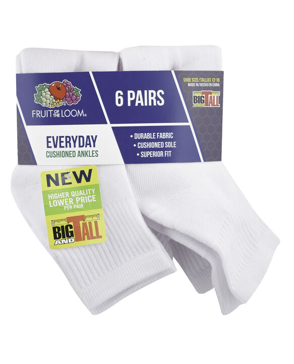 Men's Cushioned Ankle Socks, 6 Pack, Size 6-12 WHITE, CAVIAR