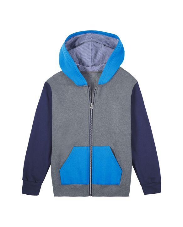 Boys' Fleece Full Zip Hoodie, 1 Pack Charcoal/Navy